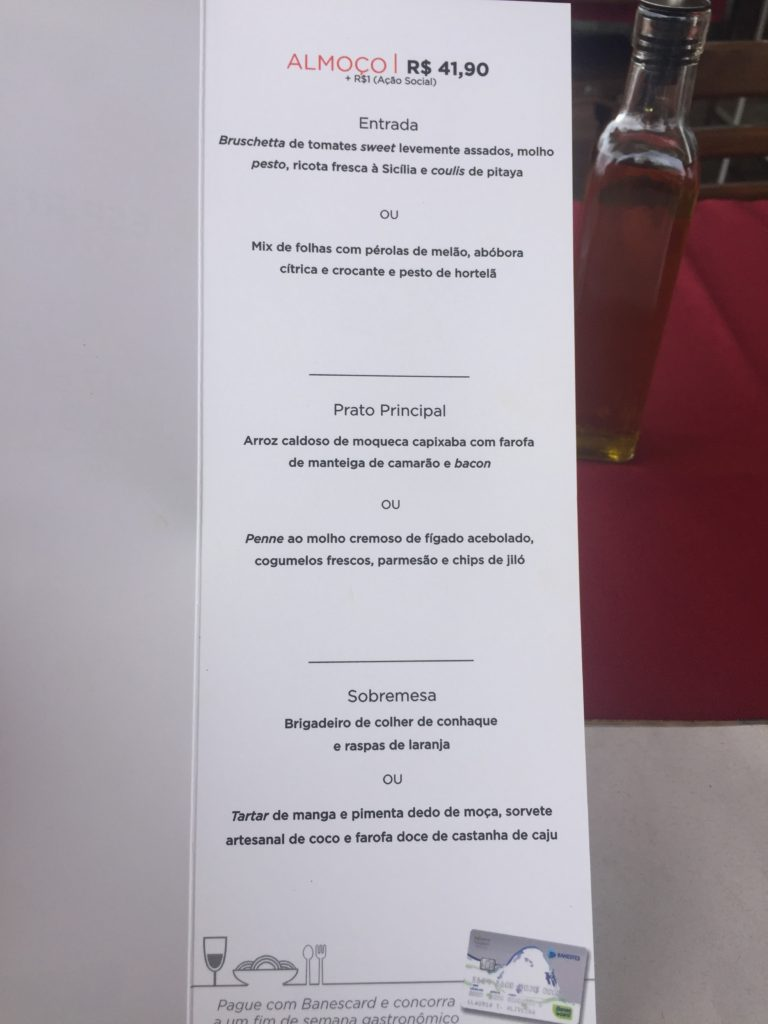 Menu do Pier Aleixo para o Restaurant Week.