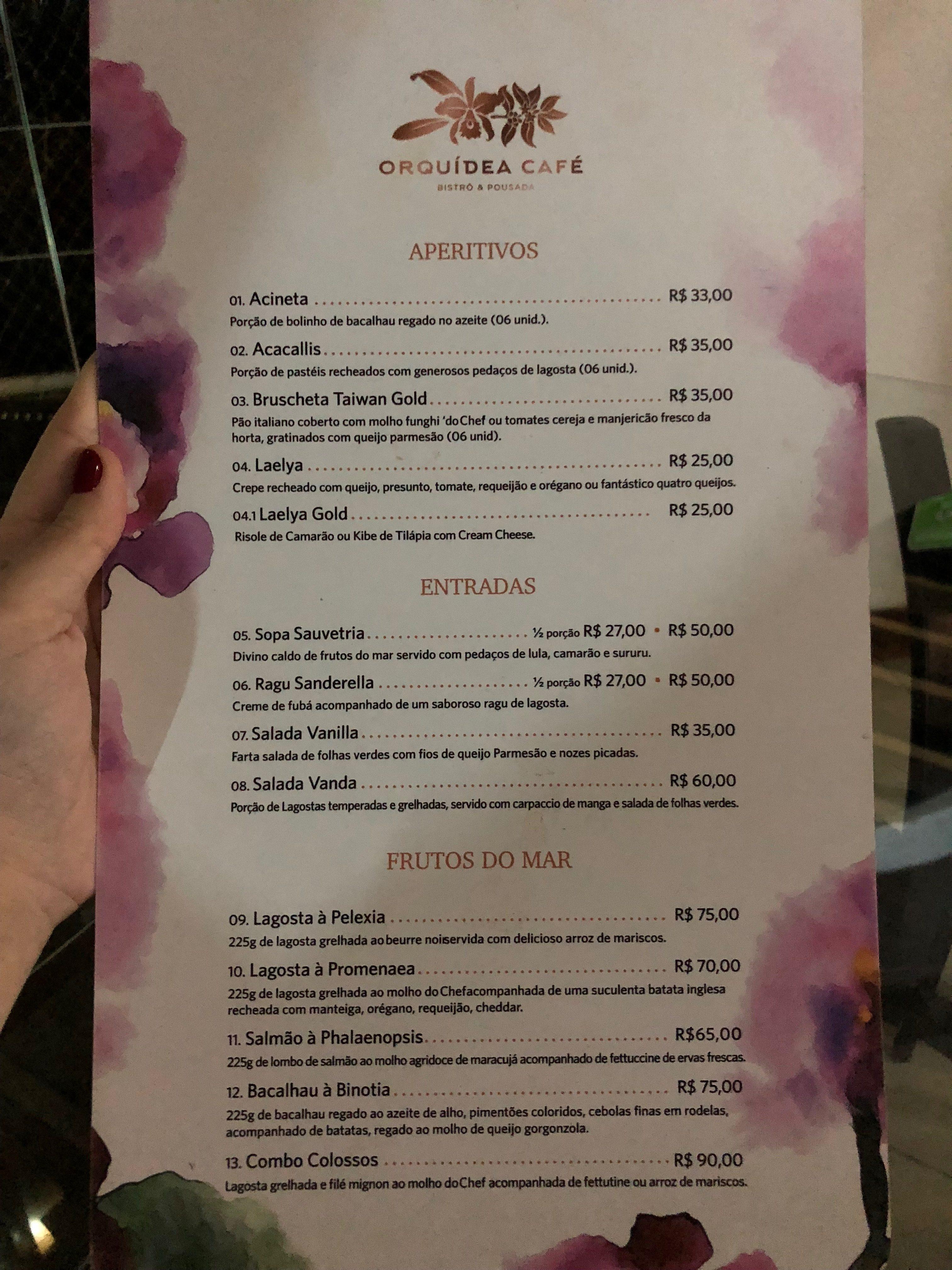 orquidea café – cardapio 1