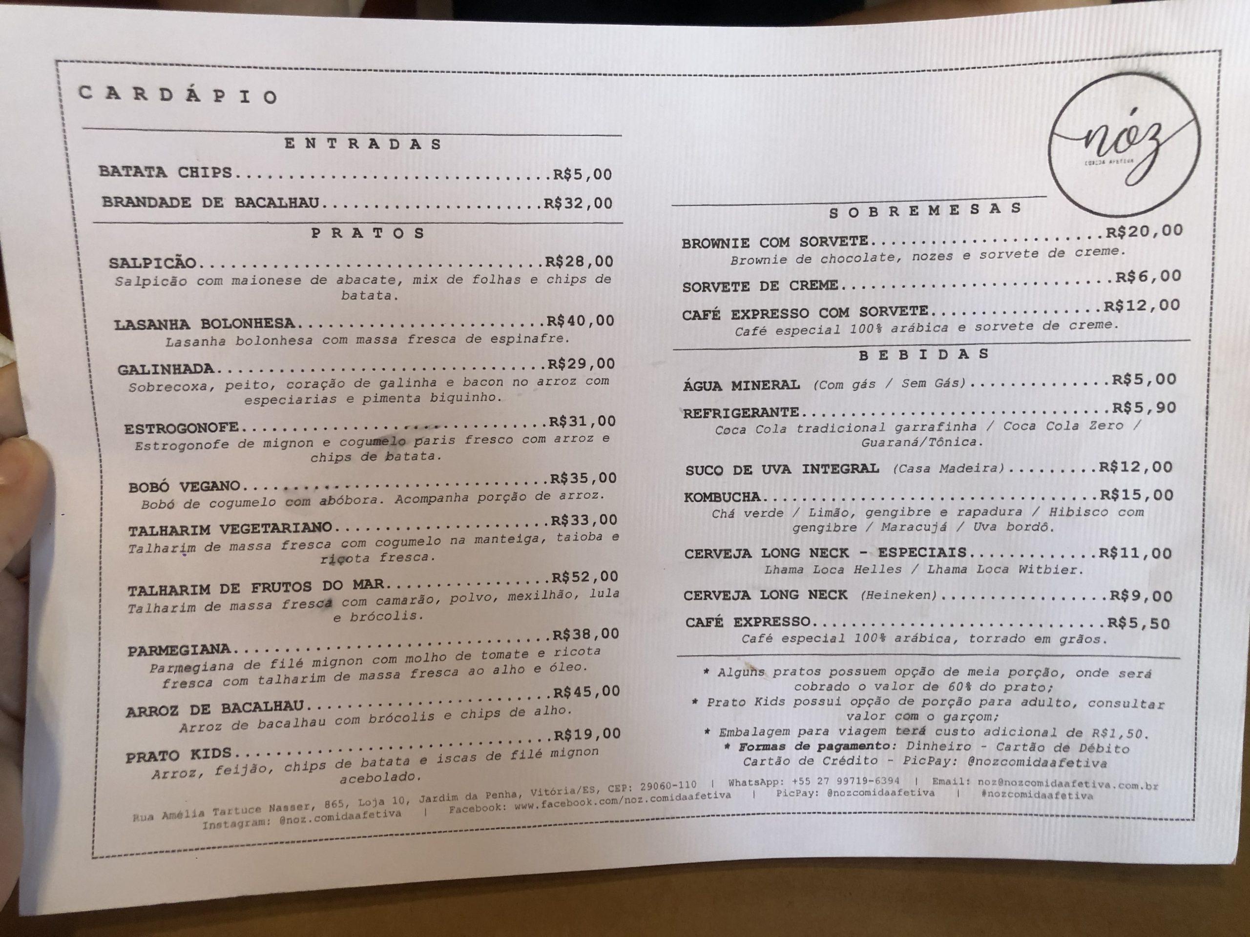 Nóz Cozinha Afetiva – menu