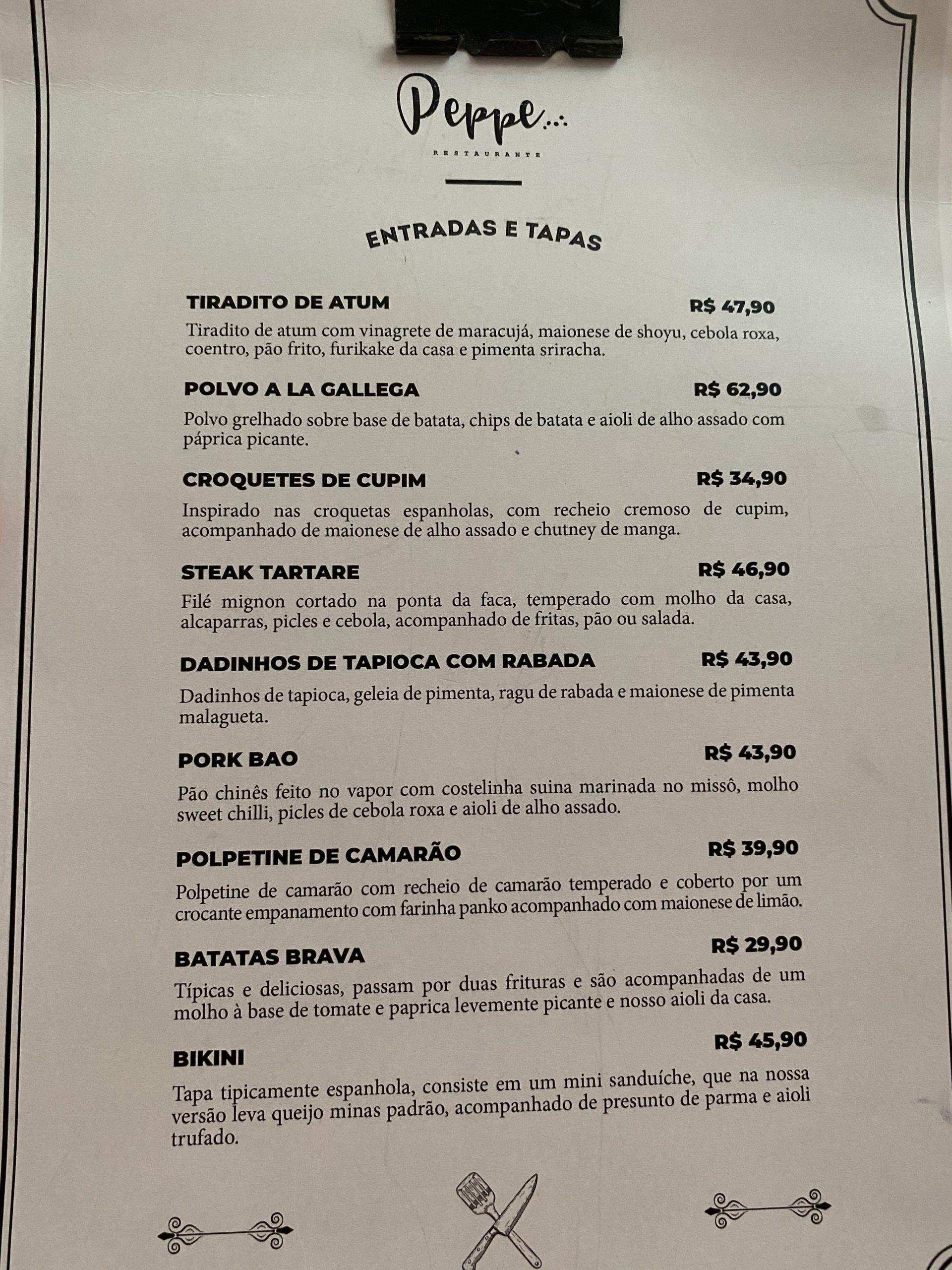 cardápio peppe restaurante 1