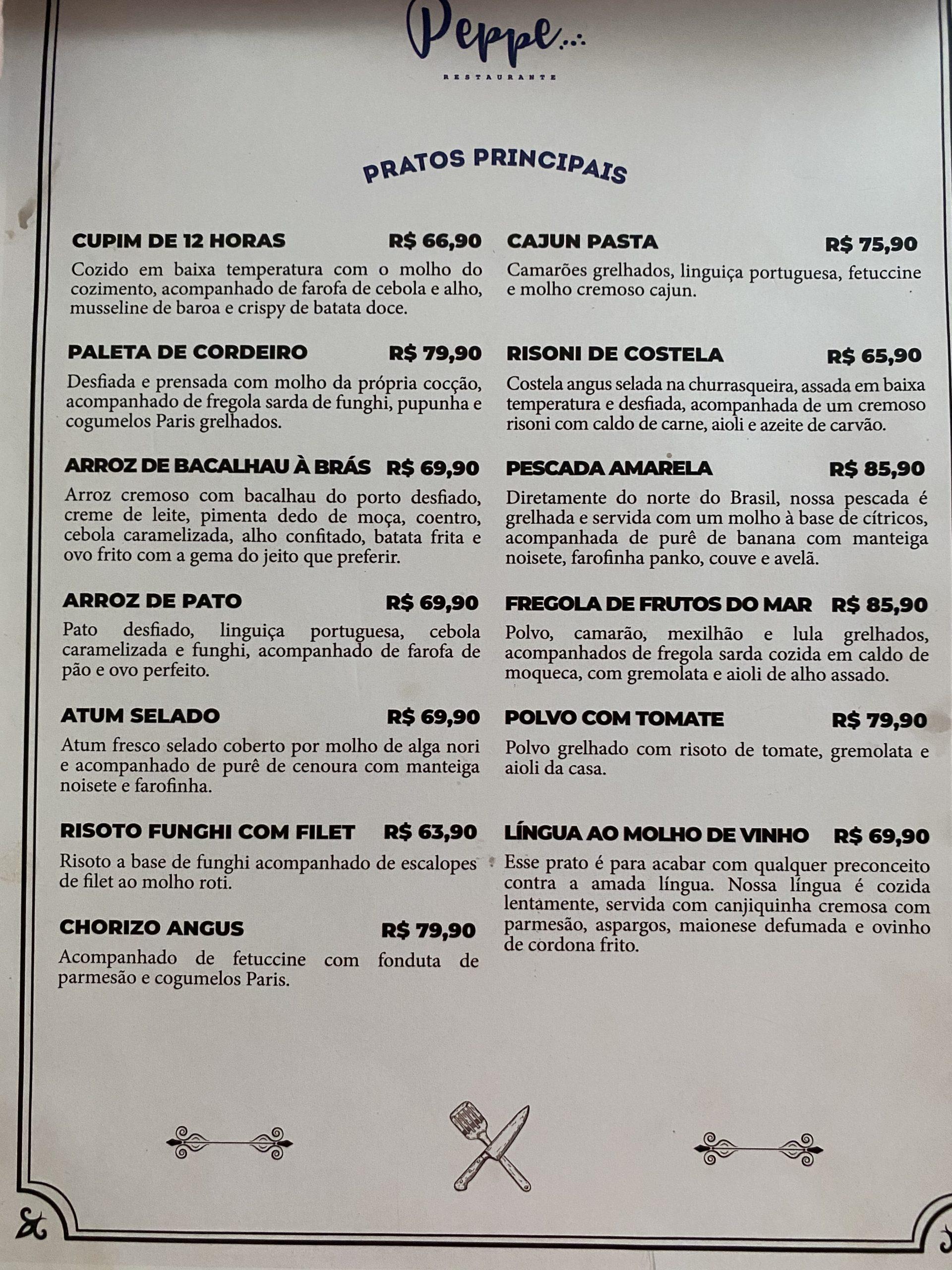 cardápio peppe restaurante 2